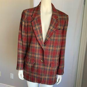 Vintage Eddie Bauer 100% Wool Blazer Size M Plaid